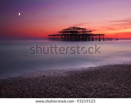 West Pier in Brighton after sun set , UK