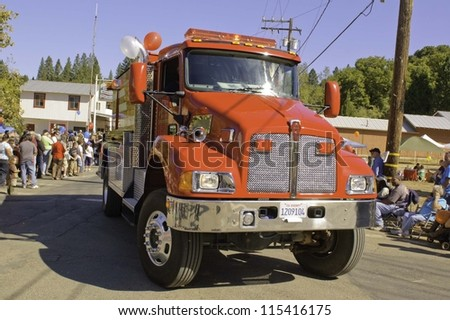 WEST POINT, CA - OCTOBER 6: Emergency services, Fire engines in celebrating the 38th  Lumberjack day  parade, on October 6, 2012 in West Point.