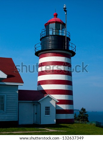 West Quoddy Head lighthouse is located on the most eastern point of the United States.