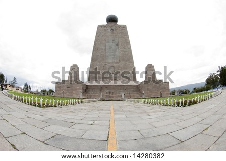 west side line monument at mitad del mundo middle of the earth equator ecuador - stock photo
