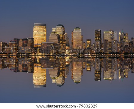 West side of lower Manhattan New York City and Hudson River. - stock photo