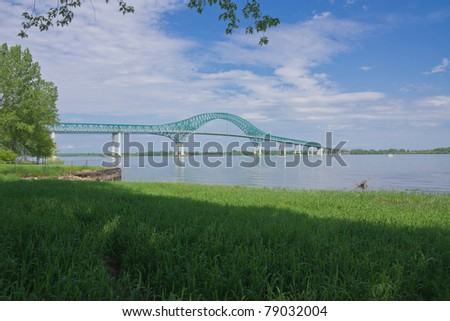 West side of the Bridge Structure Laviolette taken on the banks of St-Maurice River in Trois-Rivieres, Quebec, Canada - stock photo