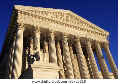 West side view of the United States Supreme Court building. - stock photo
