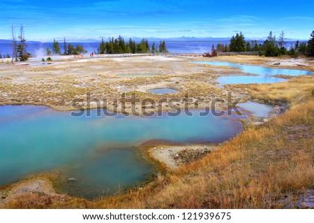 West Thumb Geyser Basin of Yellowstone, United States - stock photo