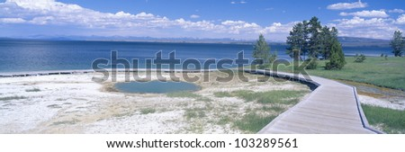 West Thumb Geyser Basin, Yellowstone, Wyoming - stock photo