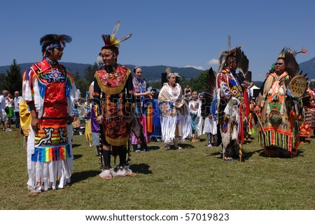 WEST VANCOUVER, BC, CANADA - JULY 10: Native Indian men participate in annual Squamish Nation Pow Wow on July 10, 2010 in West Vancouver, BC, Canada