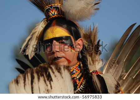 WEST VANCOUVER, BC, CANADA - JULY 10: Portrait of Native Indian man taken during annual Squamish Nation Pow Wow on July 10, 2010 in West Vancouver, BC, Canada - stock photo