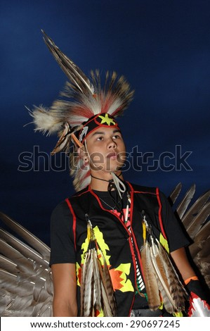 WEST VANCOUVER, CANADA - JULY 8, 2012: Native Indian people participate in the annual Squamish Nation Pow Wow in West Vancouver, British Columbia, Canada, July 8, 2012.  - stock photo