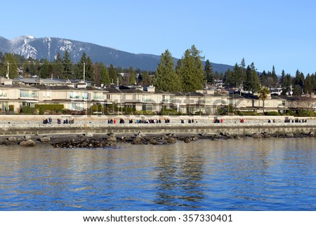 West Vancouver shore and Coast Mountains, British Columbia, Canada - stock photo