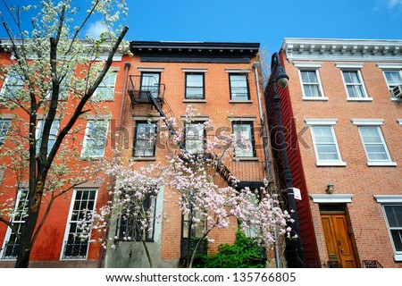 West Village New York City apartments in the springtime - stock photo