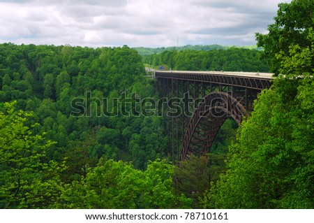 West Virginia's New River Gorge bridge carrying US 19 over the gorge - stock photo