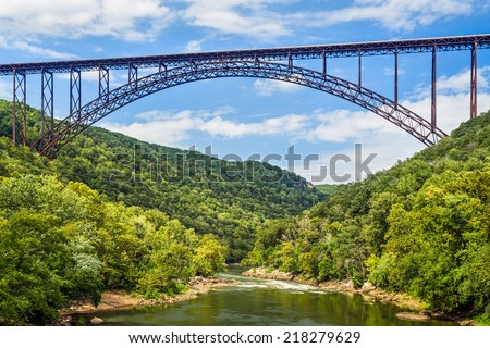 West Virginia's New River Gorge Bridge is one of the longest and highest spans in the world. - stock photo