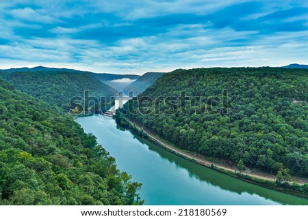 West Virginia's New River Gorge is viewed from the Hawks Nest overlook near the town of Anstead. - stock photo