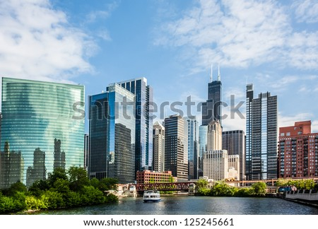 West Wacker Drive Skyline in Chicago as seen from the city river - stock photo