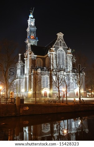 Westerkerk Church at night; Amsterdam, Netherlands