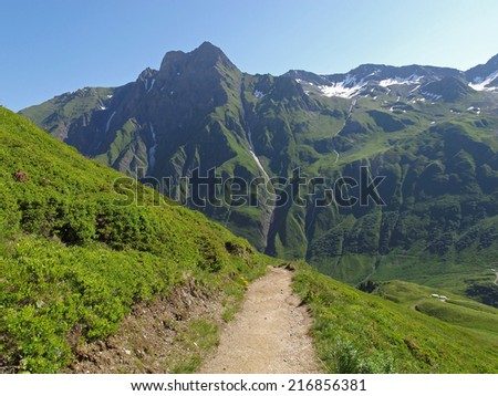 Western Alps, Italian Alps, Swiss Alps near the border to Italian - stock photo