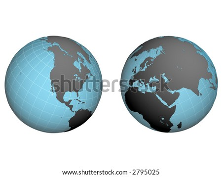 western and east hemispheres of earth with the inflicted net on a white background - stock photo