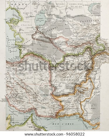 Western Asia political map. By Paul Vidal de Lablache, Atlas Classique, Librerie Colin, Paris, 1894 (first edition) - stock photo