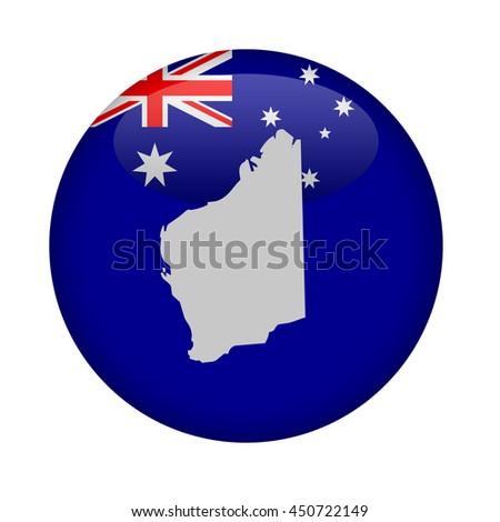 Western Australia map button on a white background. - stock photo