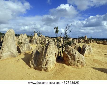 Western Australia, Nambung National Park, desert pinnacles, geological formations, desert - stock photo