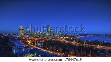 Western Australia - Night View of Perth Skyline from King's Park - stock photo