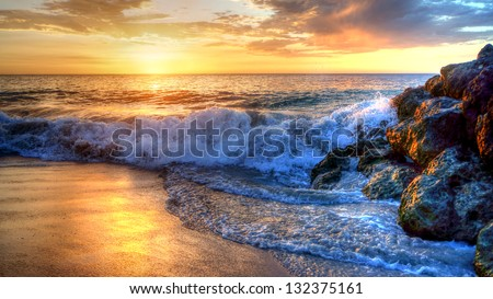 Western Australian coastline sunset - stock photo