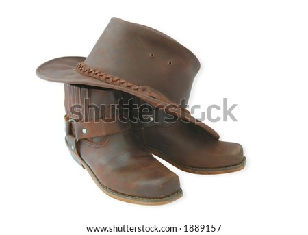 western boots and hat-isolated - stock photo