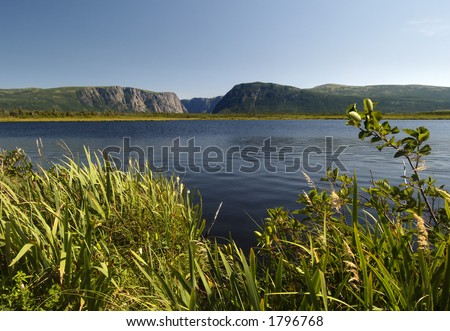 Western Brook Pond located in Newfoundland Canada - stock photo
