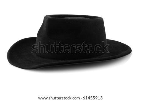 Western cowboy black felt hat isolated on white background. - stock photo