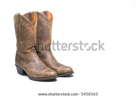 Western cowboy brown boots on white background series 10 - stock photo