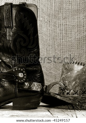 Western cowboy still life on the desk - stock photo