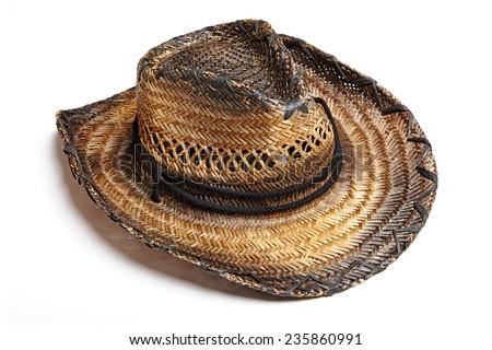 Western cowboy straw hat isolated on white background. Studio shot. - stock photo