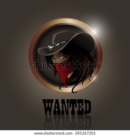 Western cowgirl with hat and face mask - stock photo