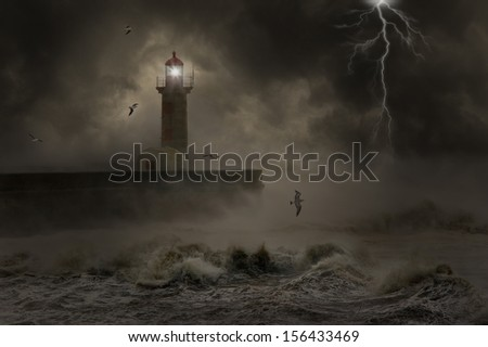Western Europe Atlantic stormy waves at the entrance of an harbor. - stock photo