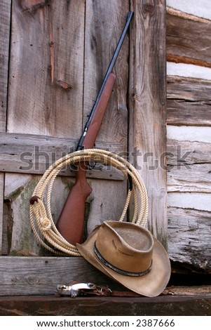 Western gear at back door of log cabin - stock photo