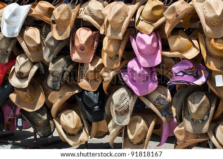 Western hats in the sun - stock photo