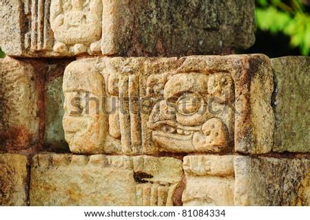 Western Honduras, Archeological Park in Copan, 2011 - Mayan fresco - stock photo