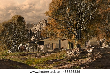 Western Horse Ranch - stock photo
