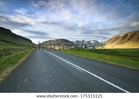Western Iceland./ The Road. - stock photo