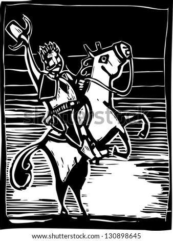 Western image of an American Cowboy on a horse in woodcut style.