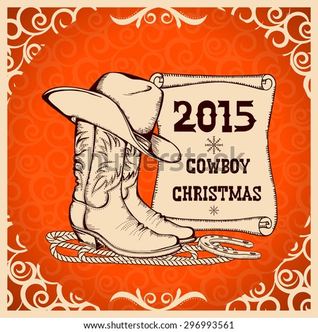 Western New Year with cowboy traditional clothes.Raster