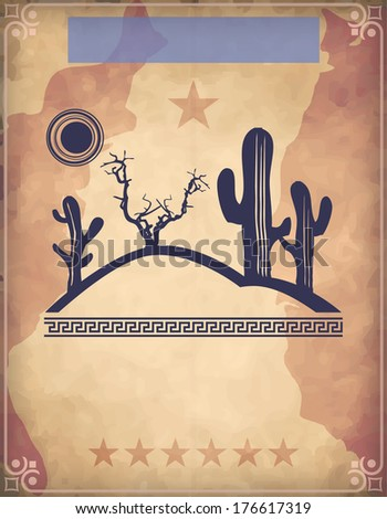 Western poster with desert scene - stock photo