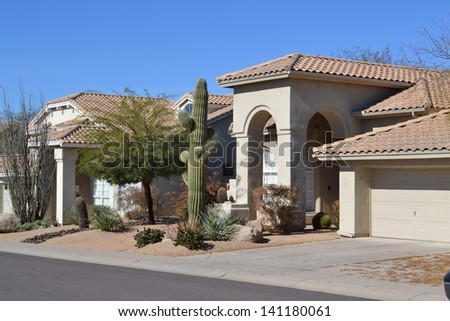 Western Ranch Style House in Arizona - stock photo