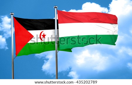 Western sahara flag with Hungary flag, 3D rendering