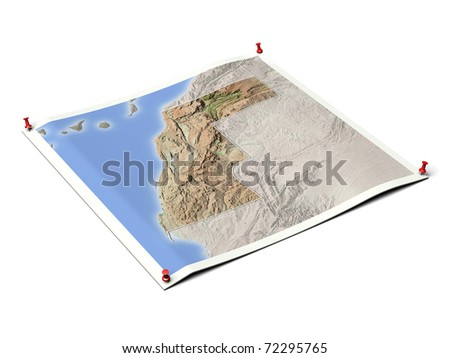 Western Sahara on unfolded map sheet with thumbtacks. Map colored according to vegetation, with borders. Includes clip path for the background.