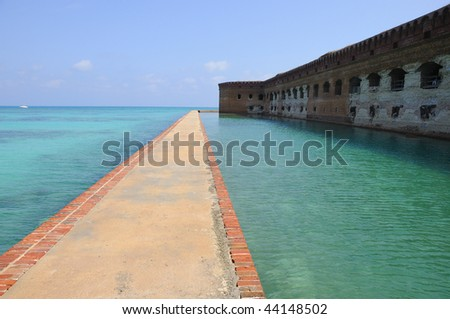 Western Side of Fort Jefferson on Dry Tortugas National Park - stock photo