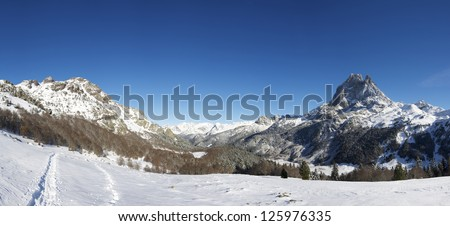 western slope of the peak Midi d'Ossau, 2884 meters, Ossau Valley, Pyrenees, France - stock photo