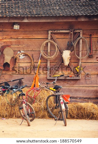Western style cowboy home - stock photo
