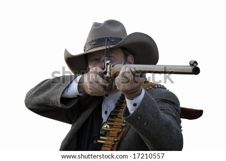 Western style deputy sheriff takes aim with rifle.  Isolated with clipping path. - stock photo