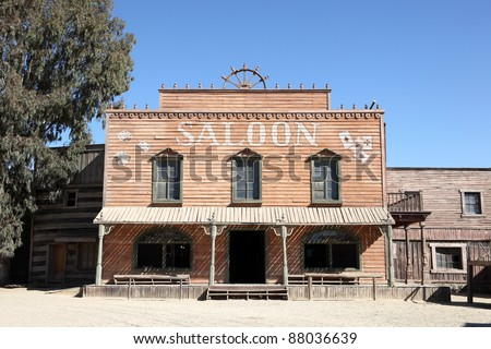 Western style saloon in an old American town - stock photo